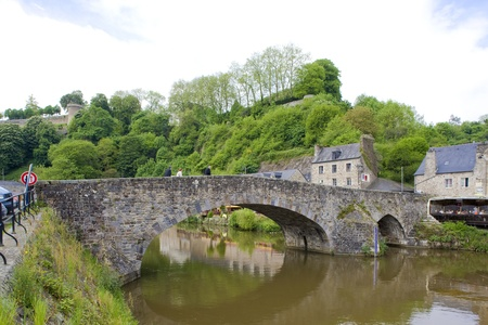 rance: gothic bridge, Dinan, Brittany, France Stock Photo