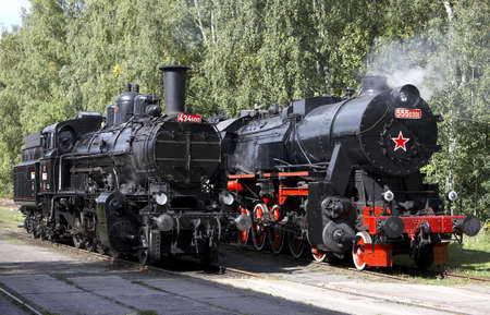 steam locomotives (555.301+434.1001), depot Luzna u Rakovnika, Czech Republic Stock Photo - 9676680