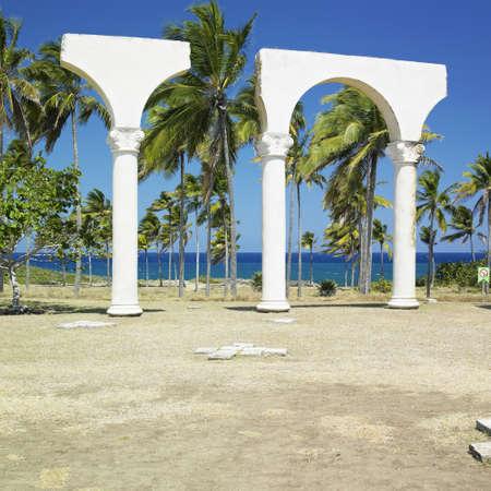 holguin: memorial of Christopher Columbuss landing, Bahia de Bariay, Holguin Province, Cuba Stock Photo