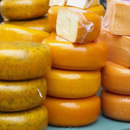 cheeses: cheese market, Alkmaar, Netherlands Stock Photo