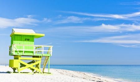 florida beach: cabin on the beach, Miami Beach, Florida, USA Stock Photo
