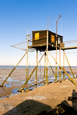 gironde department: pier with fishing net, Gironde Department, Aquitaine, France Stock Photo