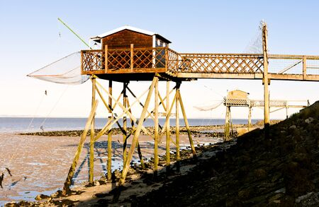 gironde department: piers with fishing nets, Gironde Department, Aquitaine, France
