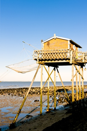 gironde department: fishing house with a fishing net, Gironde Department, Aquitaine, France