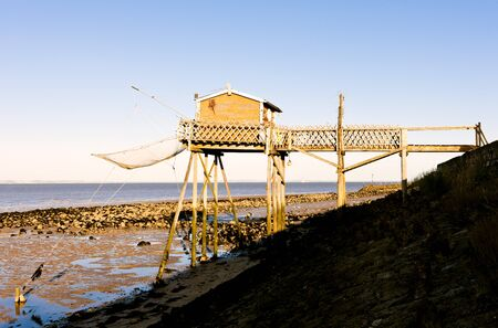 gironde: pier with fishing net, Gironde Department, Aquitaine, France Stock Photo