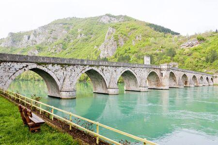 bosna: bridge over Drina River, Visegrad, Bosnia and Hercegovina Stock Photo