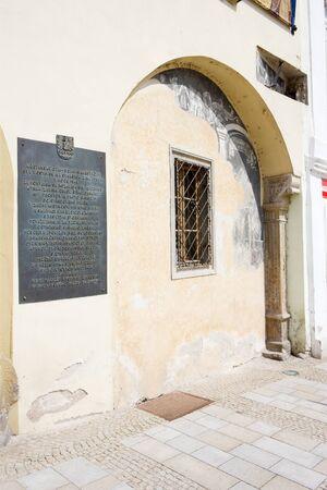 znojemsko: detail of house at Masaryk Square, Znojmo, Czech Republic