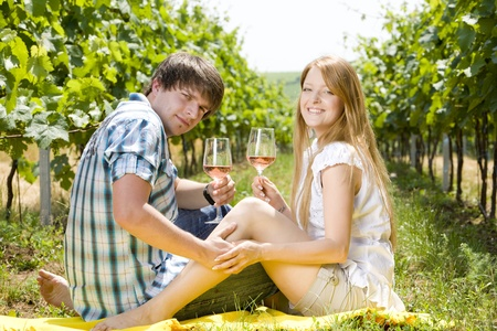 freetime: couple at a picnic in vineyard