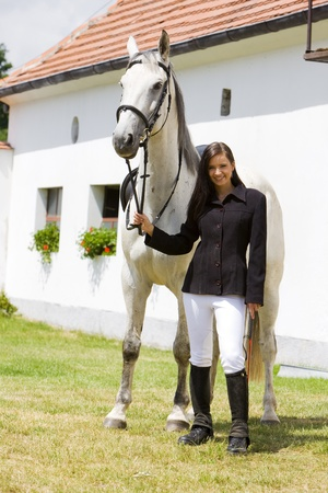 single whip: equestrian with horse