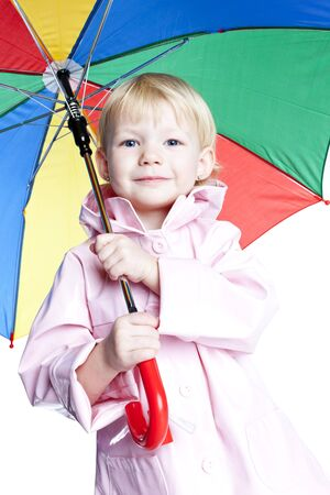 portrait of little girl with umbrella photo