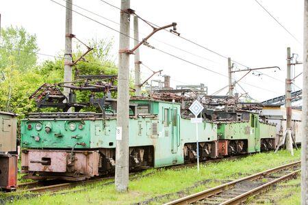 kostolac: electric locomotives, Kostolac, Serbia Stock Photo
