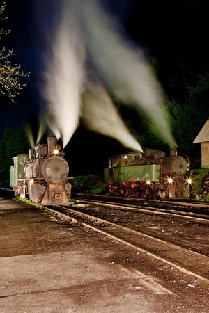 bosna: locomotive a vapore di notte, Oskova, Bosnia e Erzegovina Archivio Fotografico