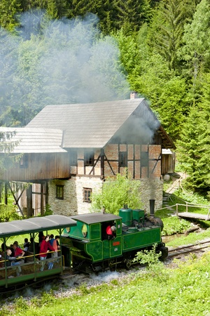 logging railroads: treno a vapore e vecchio vide mulino, Museo di Kysuce villaggio, Vychylovka, Slovacchia Archivio Fotografico