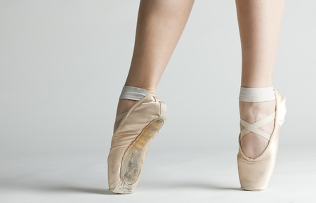 ballet shoes: detail of ballet dancers feet