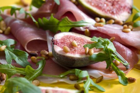 pine nuts: Spanish ham with figs and pine nuts