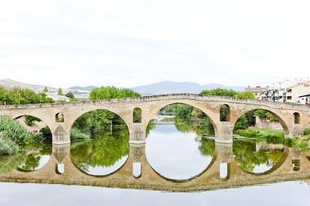 romanesque bridge over river Arga, Puente La Reina, Road to Santiago de Compostela, Navarre, Spain photo