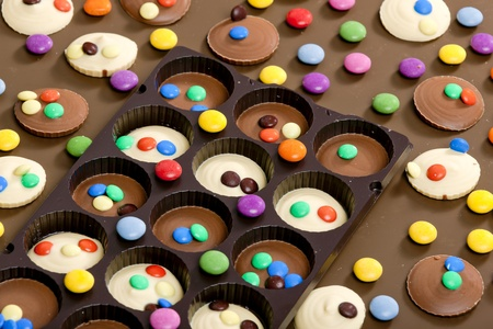 smarties: still life of chocolate with smarties