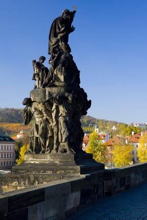 statute: sculpture at Charles Bridge, Prague, Czech Republic Stock Photo