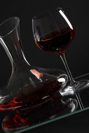 ilustrations: wine glass and carafe with red wine