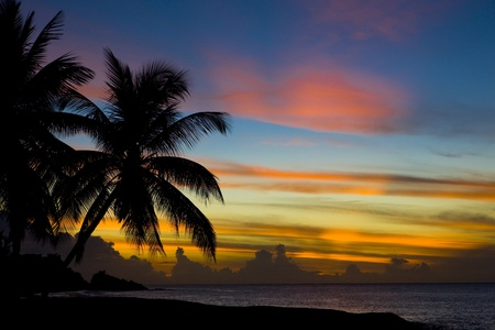 seascapes: sunset over Caribbean Sea, Turtle Beach, Tobago Stock Photo