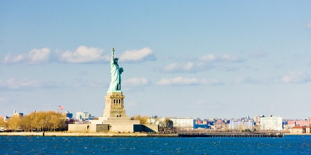 Liberty Island and Statue of Liberty, New York, USA Stock Photo