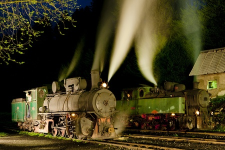 yugoslavia federal republic: steam locomotives at night, Oskova, Bosnia and Hercegovina