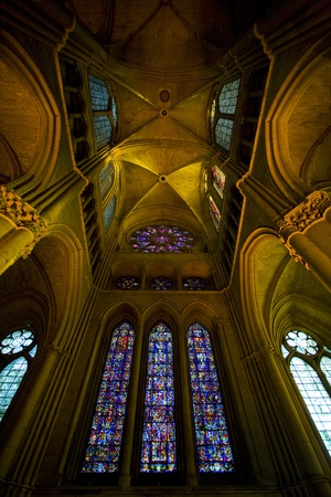 gothic build: interior of Cathedral Notre Dame, Reims, Champagne, France Editorial