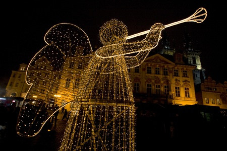 christmas motive: Old Town Square at Christmas time, Prague, Czech Republic