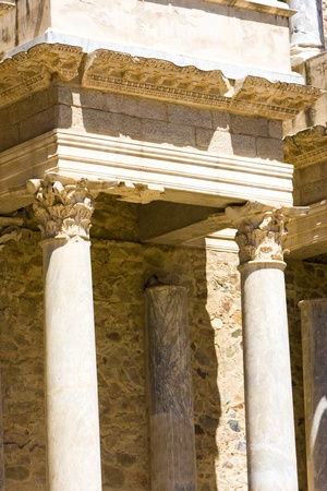 detail of Roman Theatre, Merida, Badajoz Province, Extremadura, Spain photo