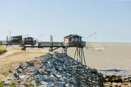 piers with fishing nets, Gironde Department, Aquitaine, France Stock Photo - 12099506