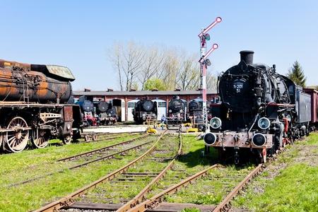 signalling device: steam locomotives in railway museum, Jaworzyna Slaska, Silesia, Poland Editorial