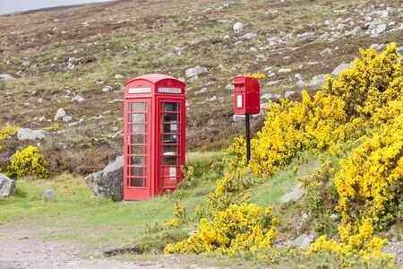 telephone booth and letter box near Laid, Scotland photo