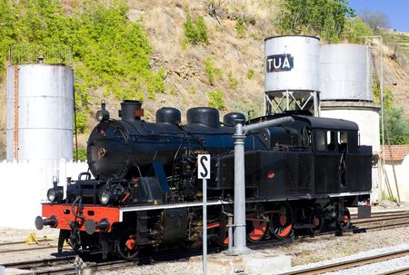 steam locomotive at railway station of Tua, Douro Valley, Portugal