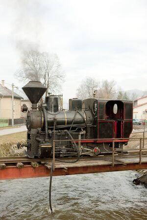 logging railway: steam locomotive, Ciernohronska Railway, Slovakia Stock Photo