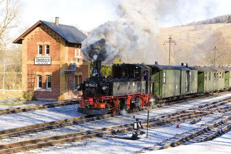 narrow gauge railway: steam train, Steinbach - Jöhstadt, Germany