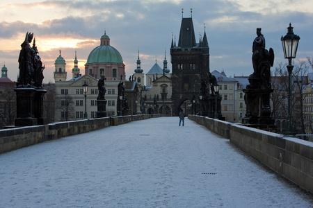 Charles Bridge in winter, Prague, Czech Republic Stock Photo - 12338828