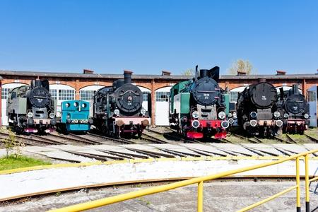 steam locomotives: steam locomotives in railway museum, Jaworzyna Slaska, Silesia, Poland Editorial