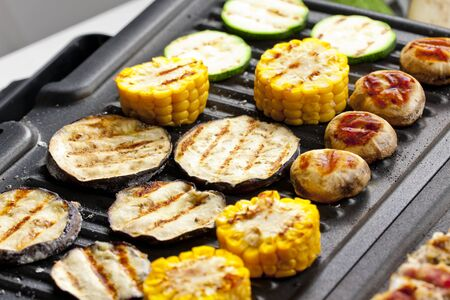 vegetables on electric grill photo