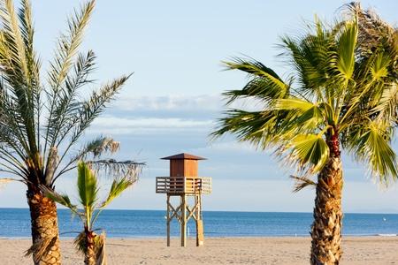 cabine sauveteur sur la plage de Narbonne Plage, Languedoc-Roussillon, France Banque d'images