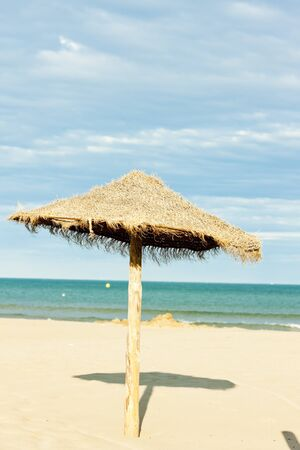 sunshade on the beach in Narbonne Plage, Languedoc-Roussillon, France Stock Photo - 13120597