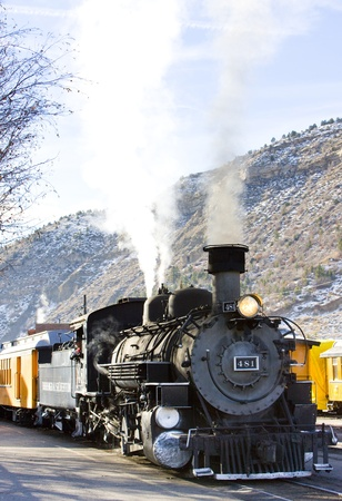 locomotora: Durango Silverton Narrow Gauge Railroad, Colorado, EE.UU. Editorial