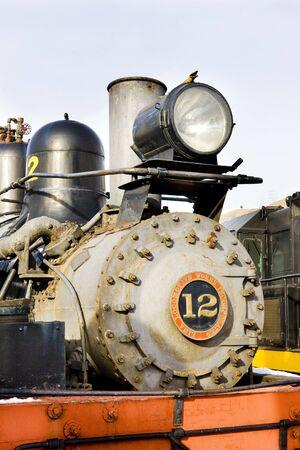steam traction: detail of steam locomotive, Colorado Railroad Museum, USA