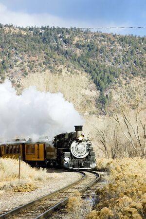 locomotora: Durango y Silverton Narrow Gauge Railroad, Colorado, EE.UU. Editorial