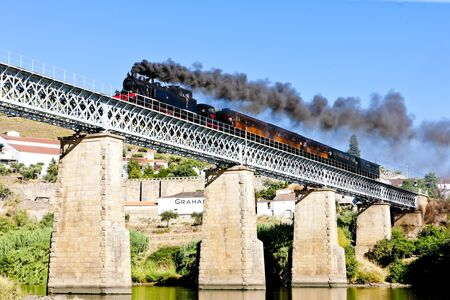 steam locomotives: steam train in Douro Valley, Portugal