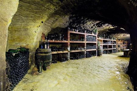 znojmo region: wine cellar, Bily sklep rodiny Adamkovy, Chvalovice, Czech Republic