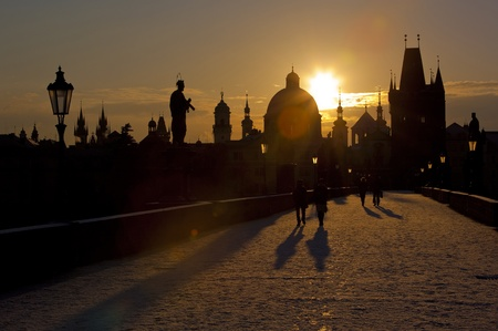 Charles Bridge at dawn, Prague, Czech Republic Stock Photo - 13183677