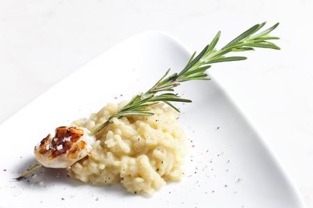 mollusc: grilled Saint Jacques mollusc on rosemary needle with risotto