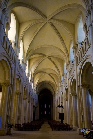 friaries: interior of church Sainte-Trinit�, Abbaye aux Dames, Normandy, France Editorial