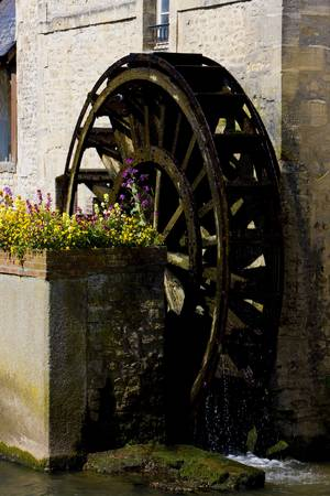 basse normandy: water mill, Bayeux, Normandy, France Stock Photo