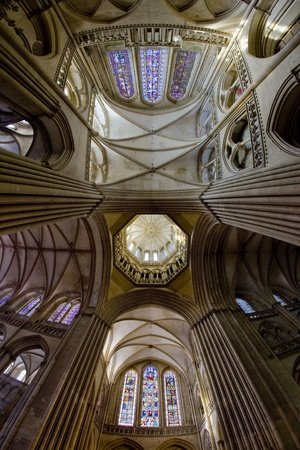 interior of Cathedral Notre Dame, Coutances, Normandy, France